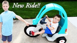 Toys!!! Super Coupe Pedal Trike- Ride on Toy Unboxing and Review with Brothers Ryan and Dad!!