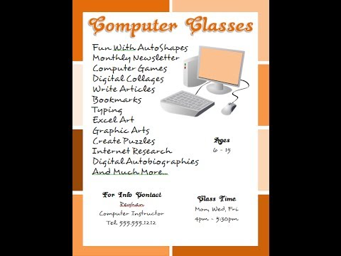 Microsoft Word 2013 Tutorial: How To Make a Computer Classes Flyer Background