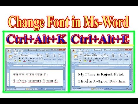 How to Change Font Hindi & English in MS Word with Shortcut Key Two Diffrent Font