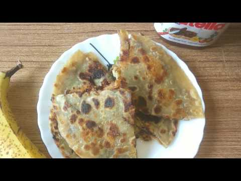 Nutella banana Paratha, पके केले का पराठा, 5 minutes recipe, kids tiffin, whole wheat chapati