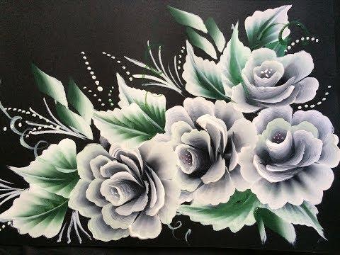 One Stroke White Roses on Black Chart Paper