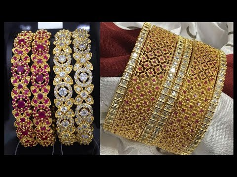 Latest Ruby Gold Bangle Designs With Weight - She Fashion