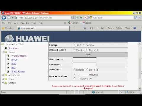 BSNL Broadband Modem configuration tips for huwaei SmartAX MT882