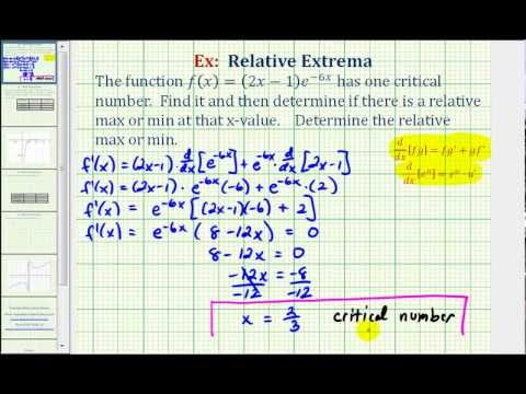 Ex: Critical Numbers / Relative Extrema / First Derivative Test