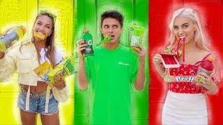 EATING ONLY ONE COLORED FOOD FOR 24 HOURS | Brent Rivera
