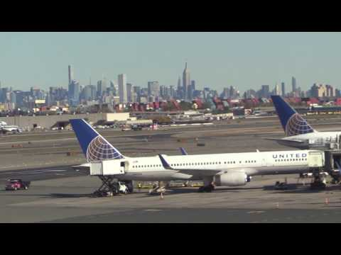 Newark Liberty Airport and Manhattan Seen from the AirTrain