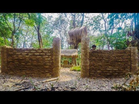 Primitive Technology, Mud huts, Making wall - ep 6
