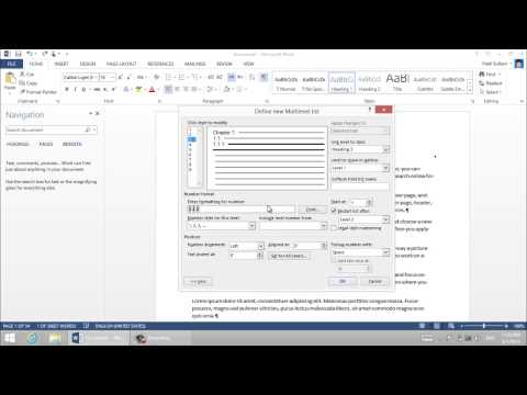 Sections and Chapter Numbering in Microsoft Word 2013