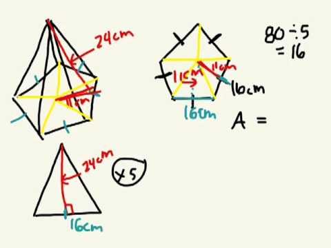 Surface Area of a pentagonal pyramid 8.4 gr 9 academic 05 29 13