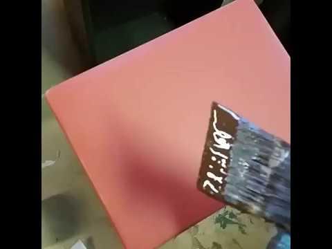 Burnt Umber Glaze over Persimmon Milk Paint