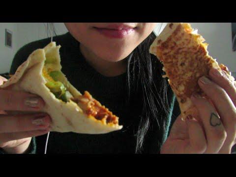 ASMR (Close Up Binaural) - Taco Bell   Chicken Quesadilla, Nachos, and a Soft Taco