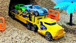 Carritos Autos Y Camiones Para Niños Construcción De Puentes Con Arena Kinetica