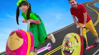 Emma Pretend Play w/ Luggage Suitcase Scooter Ride On Toy