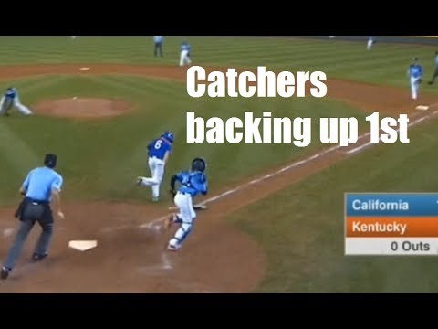 How and when catchers should back up first base in baseball