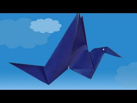 A paper flapping bird. Origami step by step