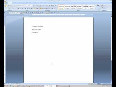 MLA Format in Word 2007