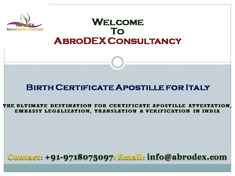 Birth Certificate Apostille for Italy