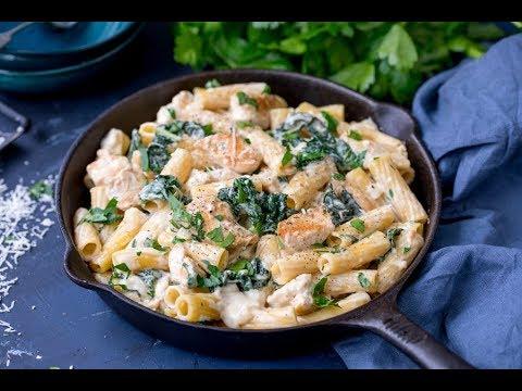 Alfredo Chicken One Pot Pasta with Kale and Rigatoni Recipe