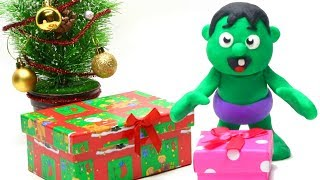 Baby Hulk unboxing Christmas gifts Stop motion play doh superhero video for kids