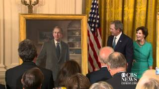 Bush official portraits unveiled at the White House