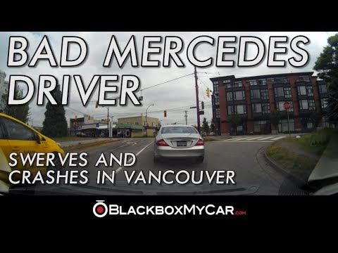 Mercedes Driver in East Vancouver Swerves and Crashes - BlackboxMyCar