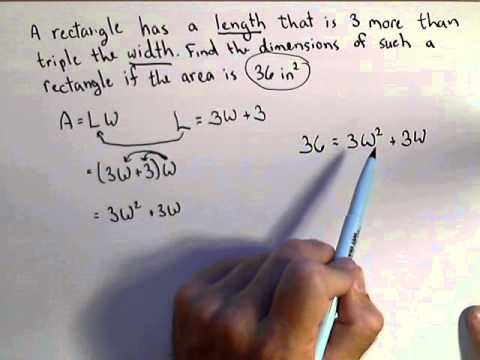 Finding the Dimensions of a Rectangle - Modeling with a Quadratic