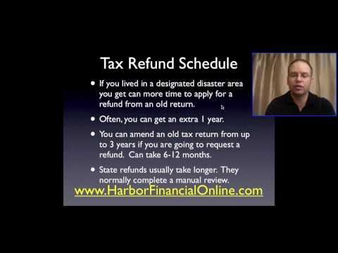 Tax Refund Schedule for 2012, 2013