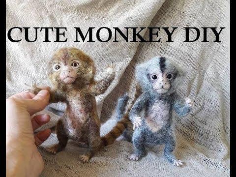 Cute Lifelike Pygmy Monkey Needle Felt Tutorial DIY