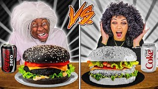 BLACK FOOD VS WHITE FOOD CHALLENGE