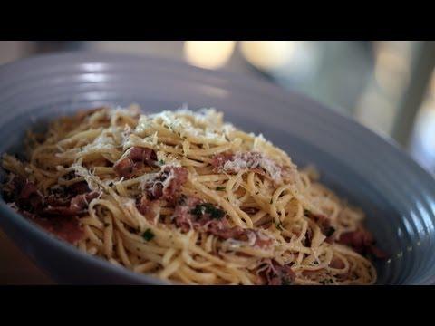 Linguine & Prosciutto w/ Brown Butter Sauce Pasta Recipe || KIN EATS