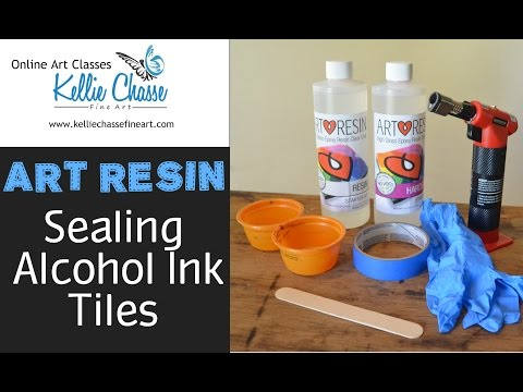 Art Resin Pour Demo on Alcohol Ink Art Tile (Time Lapse) ArtResin