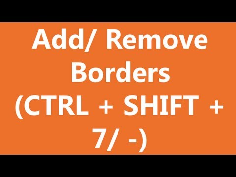 Excel shortcuts - Add or Remove Borders