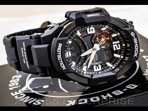 Casio GSHOCK G-Aviation GA1000-1A REVIEW | How To Set Time | LIGHT DISPLAY