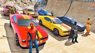 Carros Com Homem Aranha E HerÓis! Desafio Na Mega Rampa Gta V Mods - Ir Games