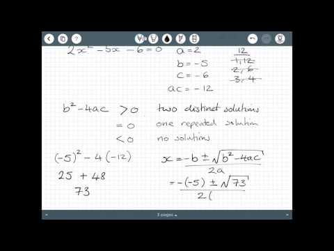 Solving quadratics using the formula