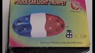 The 4 Sound 6 LED Police Bicycle Horn XC-325B Review And Instructions