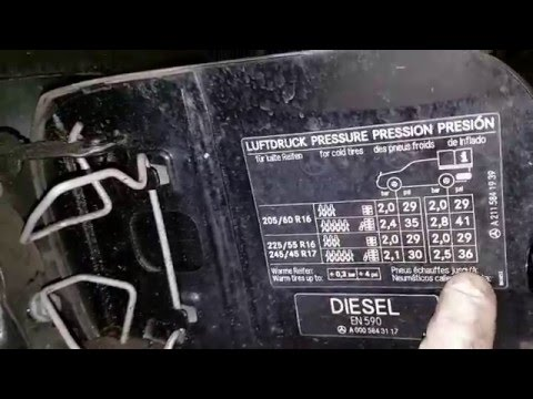 Mercedes E220 cdi - how to check tyre size and pressure