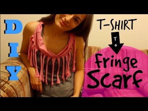 How to Make a Fringe Scarf out of an Old T Shirt!  DIY Tshirt Scarf (no sew) Tutorial