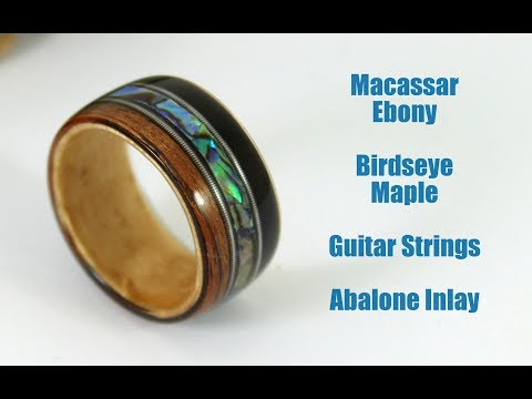 How To Make A Bent Wood Ring With Guitar Strings And Abalone Inlay
