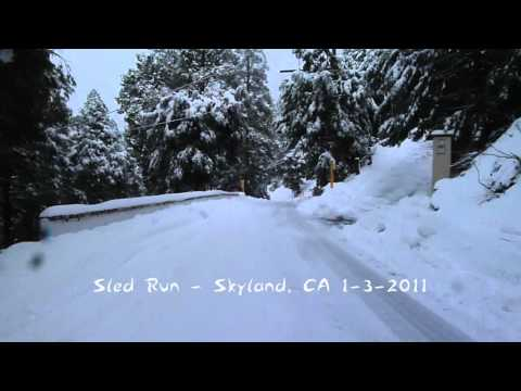 Icy Road Sledding in Skyland, CA EXTREME!