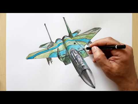 SPEED DRAWING,F 15 Eagle WAR PLANE