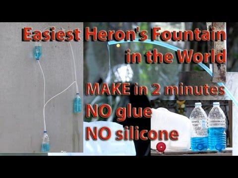 Heron's Fountain Plastic Water Bottle 2 minute DIY no sealant, no glue