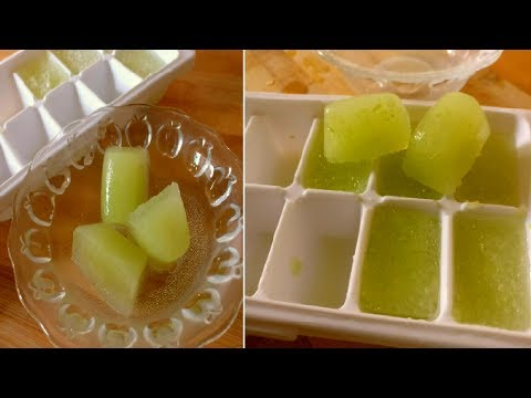 Cucumber ice cubes to remove suntan, dark spots, crystal clear skin, pimples, acne, blemishes