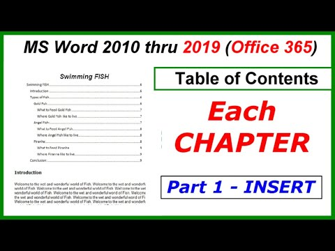Word 2016, 2013 & 2010 - Table of Contents in Each Chapter - Insert