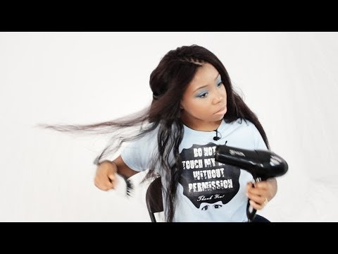 How To Straighten Synthetic Kanekalon Hair With a Blowout For Cornrow Tree Braids Tutorial Part 4