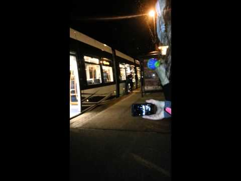Arcade Fire arrive in Blackpool by tram