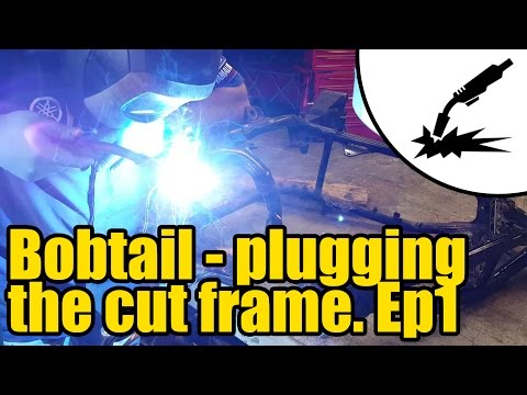 Making a motorcycle into a Bobtail - plugging the cut frame #2002