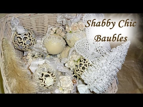 DIY Altered Shabby Chic / Vintage Christmas Baubles / Balls Tree Decoration