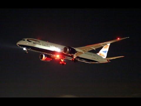 Heathrow Airport runway 27L night plane spotting