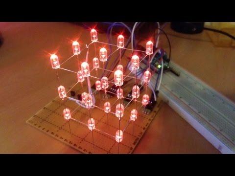 Easy DIY Arduino 3x3x3 LED Cube + Tutorial!
